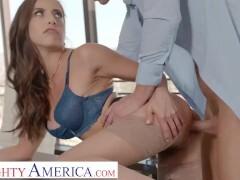 Nasty America - Dark-haired honey Spencer Bradley gets banged firm at the office