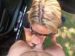 Wifey is dogging at the park and pounds a stranger with facial cumshot