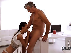 OLD4K Black-haired secretary facialized after so wanted lovemaking with old chief