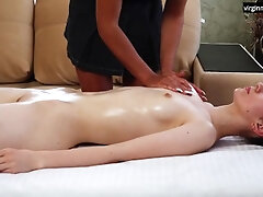 Scorching cherry leisurely lubricated touched by a massagist