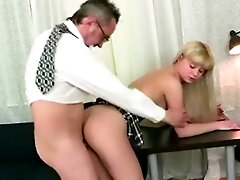 Naughty old teached nails his youthfull ash-blonde student in his office instead of extra classes