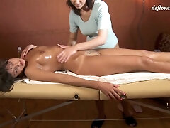 Moist getting off and ejaculation on very first time rubdown