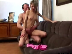 Russian schoolgirl with puffy niples seduced by tricky old teacher in his appartment