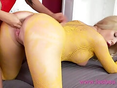 Lesbea Taut beaver Asian face-sitting on thick hooters light-haired in crotchless lace