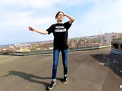 Outdoor Public lovemaking on the roof of a high-rise house - POV by MihaNika69