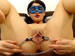 beaver stretched with nips clamps, close up and fingerblasting