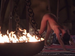 Nude Mummy presenting her outstanding yoga experiences outdoor