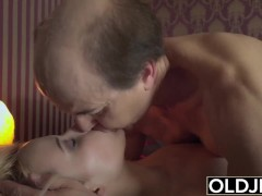 Grandpa fucking young pussy and gives her big cumshot