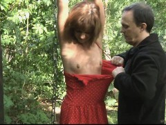 Teen slave tied smacked and screwed in the woods
