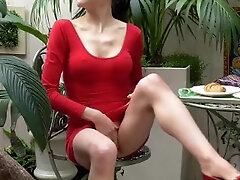 Risky Public masturbation in cafe with huge massager and multiple squirts