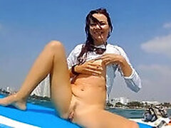 Caught by Wind Surfer (at 1:15 min) while masturbating on waves # Violet Butt Butt-plug ON