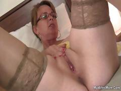 He finds her jerking and offers his hard-on