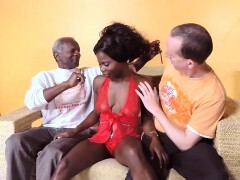3 guys get very forearms on with black woman