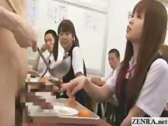 Bare in school CFNM fashion student jerks himself in front