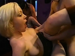 Gorgeous femmes string up to give indecent suck crew tart's