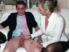 Thick shaft hand job and Thick jizz flow